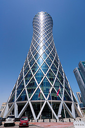 External view of Tornado Tower modern skyscraper in Doha Qatar