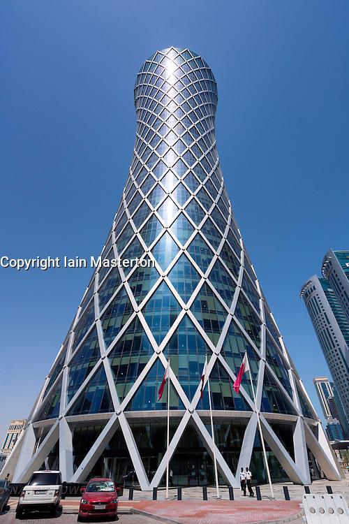 External view of Tornado Tower modern skyscraper in Doha Qatar