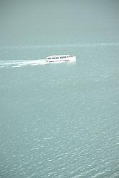 Boat on St. Mary Lake, Glacier National Park, Montana, US