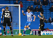 Brighton defender Connor Goldson tidies up in defence during the Sky Bet Championship match between Brighton and Hove Albion and Bolton Wanderers at the American Express Community Stadium, Brighton and Hove, England on 13 February 2016. Photo by Bennett Dean.