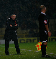 Photo: Richard Lane/Richard Lane Photography. Watford v Blackpool. Coca Cola Championship. 01/11/2008. Adrian Boothroyd disagrees with the linesman