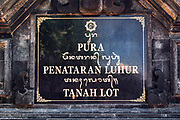 Temple plaque, Tanah Lot Temple, Bali, Indonesia