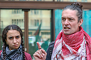 London, United Kingdom, May 27, 2021: Richard Barnard (R), and Huda Ammori (L) members of the Palestine Action activists group,  appeared outside Westminster Magistrates Court and spoke to the press ahead of a trial on Thursday, May 27, 2021. (Photo by Vudi Xhymshiti)