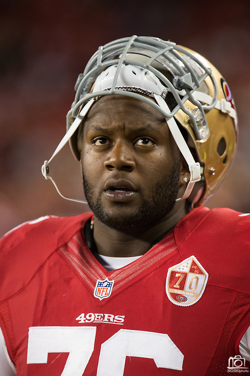 San Francisco 49ers offensive tackle Anthony Davis (76) hangs out on the sideline during a game against the Los Angeles Rams at Levi's Stadium in Santa Clara, Calif., on September 12, 2016. (Stan Olszewski/Special to S.F. Examiner)