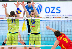 Danijel Koncilja of Slovenia and Tine Urnaut of Slovenia vs  Jovica Simovski of Macedonia during volleyball match between National teams of Slovenia and F.Y.R. Macedonia in Qualifications for 2015 CEV Volleyball European Championship - Men on May 24, 2014 in Arena Stozice, Ljubljana, Slovenia. Photo by Vid Ponikvar / Sportida
