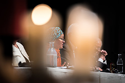 """29 October 2018, Uppsala, Sweden: Amina Mohammed speaks during plenary on """"The role of faith based actors in achieving the 2030 Agenda for Sustainable Development"""". The session included speeches by Amina Mohammed, Deputy Secretary General of the United Nations, Carin Jämtin, Director General of Swedish International Development Cooperation Agency, and Swedish deputy Prime Minister Isabella Löwin. Rev. Dr Martin Junge, General Secretary of the Lutheran World Federation moderated the session."""