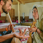Students teach each others music at the Bulbulik music school in Gulmit village, upper Hunza.