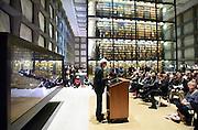 (Photo by Mara Lavitt)<br /> November 11, 2014<br /> Poet Mark Strand read at the Beinecke Rare Book and Manuscript Library, Yale University.<br /> mara@maralavitt.com