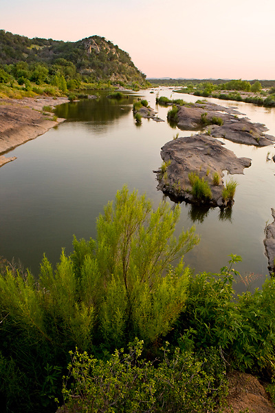Stock photo of the quiet waters on the Llano River in the Texas Hill Country