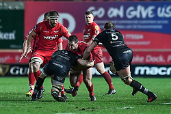 Scarlets' Ryan Elias is tackled by Ospreys' Dan Lydiate - Mandatory by-line: Craig Thomas/Replay images - 26/12/2017 - RUGBY - Parc y Scarlets - Llanelli, Wales - Scarlets v Ospreys - Guinness Pro 14