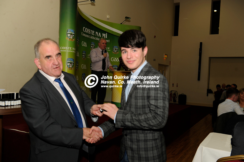 """09-12-17. All-Ireland MHC """"B"""" Winners 2017  and Leinster U-17 Football Winners Medal Presentation Dinner at St. Loman's GAA Clubhouse, Trim.<br /> Pat Lynagh, Treasurer, Leinster GAA presenting Aaron Lynch with his Leinster U-17 Football Championship Medal.<br /> Photo: John Quirke / www.quirke.ie<br /> ©John Quirke Photography, Unit 17, Blackcastle Shopping Cte. Navan. Co. Meath. 046-9079044 / 087-2579454."""