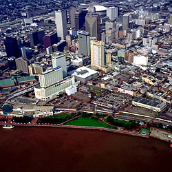 Aerial view of New Orleans Louisiana,towards the Superdome before Hurricane Katrina