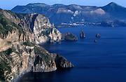 Lipari, looking towards Vulcano, Aeolian Islands, Sicily, Italy