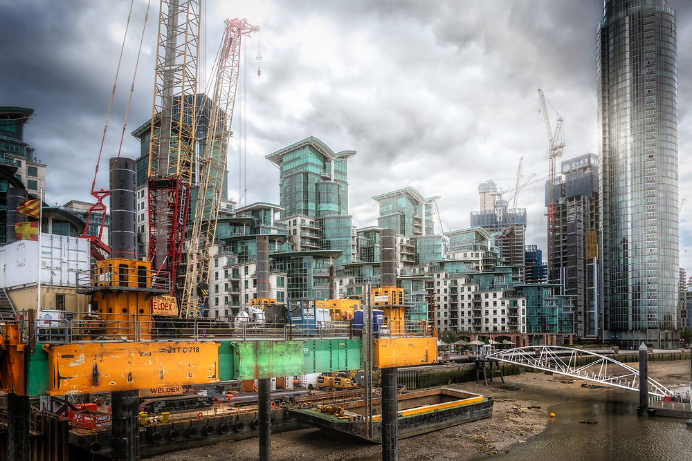 Nine Elms and Vauxhall Tower, River Thames, London, UK