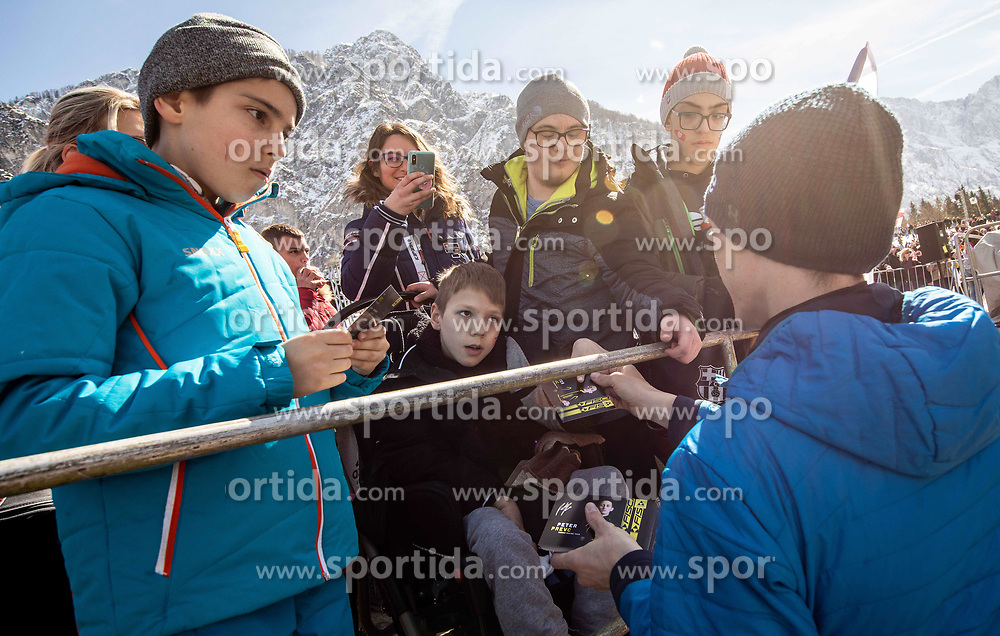 Peter Prevc (SLO) with disabled fans during the Trial Round of the Ski Flying Hill Individual Competition at Day 1 of FIS Ski Jumping World Cup Final 2019, on March 21, 2019 in Planica, Slovenia. Photo by Vid Ponikvar / Sportida
