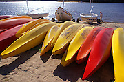 Colorful canoes and lake, Martha's Vineyard, Massachusetts