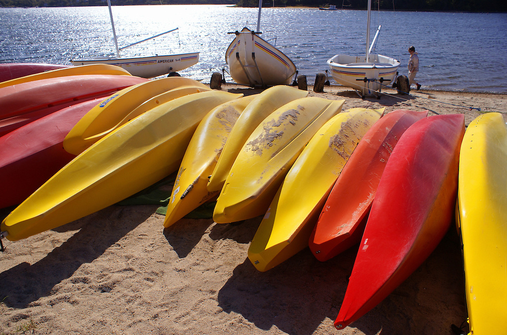 Colorful canoes and lake, Martha's Vineyard, Massachusetts