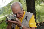 Roman Türk examines lichens. GEO day of biodiversity at the Hohe Tauern National Park, Austria. | Roman Türk betrachtet Flechten am GEO-Tag der Artenvielfalt im Nationalpark Hohe Tauern 2013, Österreich.