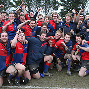 Maniototo celebrate their victory after defeating Arrowtown 51-9 during the Otago Rugby Final between Maniototo and Arrowtown at Ranfurly, South Island, New Zealand, 9th June 2011