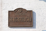 Metal Street sign Hercegovacka Street. Hercegovina street. Podgorica capital. Montenegro, Balkan, Europe.