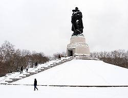 Soviet War memorial in Treptower Park Berlin in the snow in winter 2010
