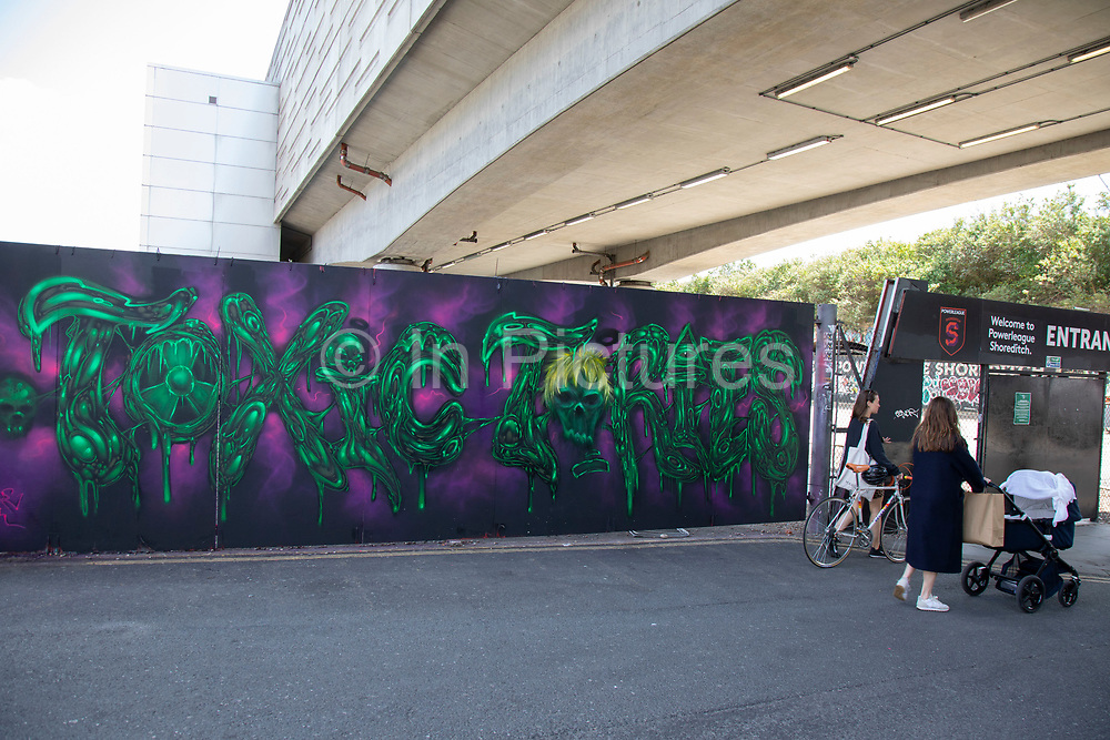 Toxic Tories virus street art and graffiti is in Shoreditch as lockdown continues and people observe the stay at home message in the capital on 12th May 2020 in London, England, United Kingdom. Coronavirus or Covid-19 is a new respiratory illness that has not previously been seen in humans. While much or Europe has been placed into lockdown, the UK government has now announced a slight relaxation of the stringent rules as part of their long term strategy, and in particular social distancing.