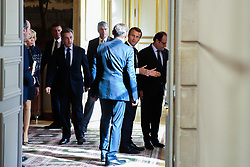 French President Emmanuel Macron and his wife Brigitte Macron arrive with former French presidents Francois Hollande and Nicolas Sarkozy for a welcoming ceremony to celebrate Paris' coronation as host of the 2024 Olympics Games at the Elysee Palace in Paris on September 15, 2017, after the Paris 2024 delegation returned from the International Olympic Committee (IOC) meeting in Lima. Photo by Hamilton/Pool/ABACAPRESS.COM