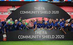 Chelsea Women lift the FA Women's Community Shield after beating Manchester City Women 2-0- Mandatory by-line: Nizaam Jones/JMP - 29/08/2020 - FOOTBALL - Wembley Stadium - London, England - Chelsea v Manchester City - FA Women's Community Shield