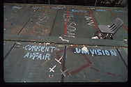 The OJ Simpson trial and media circus.<br /> Media markings on the grounds of the Criminal Courthouse.
