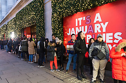 © Licensed to London News Pictures. 26/12/2016. People queue outside Selfridges store in Oxford Street for the start of the stores Boxing Day sales. London, UK. Photo credit: Ray Tang/LNP
