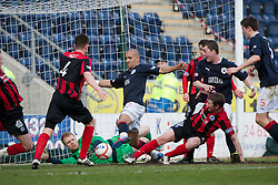 Falkirk's Farid El Alagui scoring their first goal..(half time) Falkirk 2 v 0 Queen of the South, 25/2/2012..© Michael Schofield.