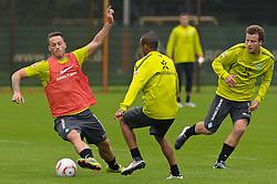 09.09.2010, Trainingsgelaende Werder Bremen, Bremen, GER, 1. FBL, Training Werder Bremen, im Bild Marko Arnautovic (Bremen #7, links), Wesley (Bremen #5, Mitte), Philipp Bargfrede (Bremen #44, rechts)   EXPA Pictures © 2010, PhotoCredit: EXPA/ nph/  Frisch+++++ ATTENTION - OUT OF GER +++++ / SPORTIDA PHOTO AGENCY