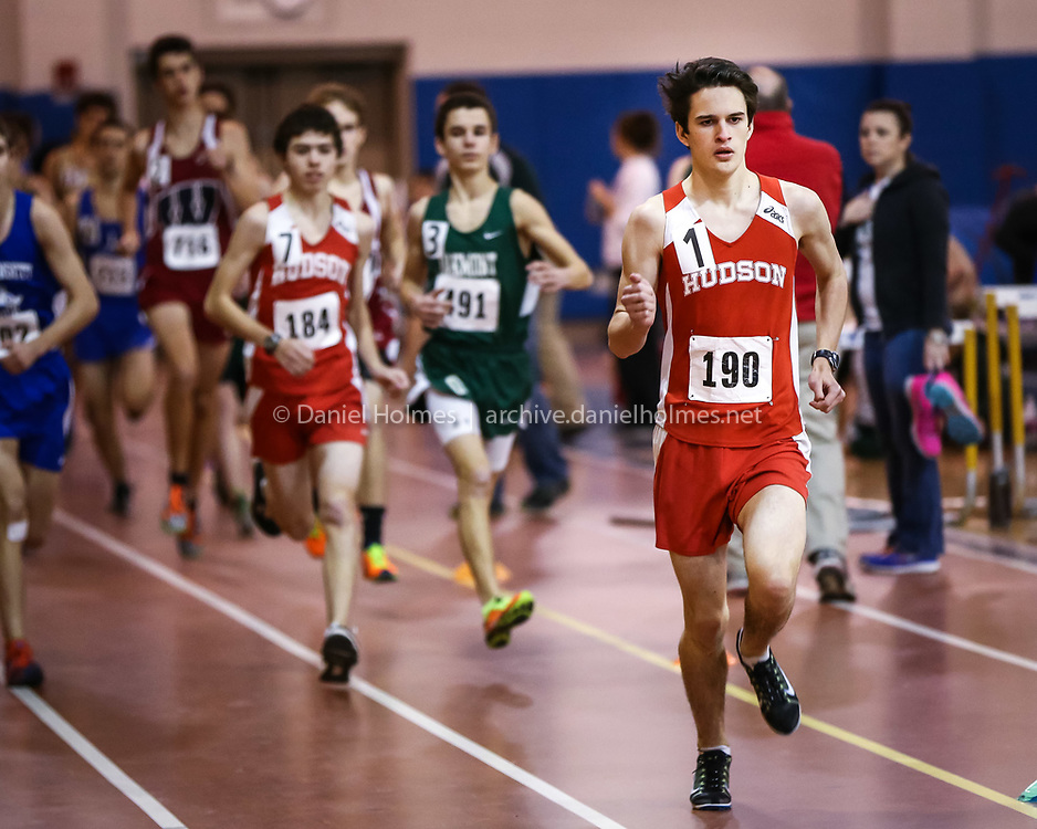 1/23/14, SHREWSBURY, MA) Hudson's Andrew Doherty Munro, right, wins the boys 2-mile event during the track meet against Westborough at Shrewsbury High School on Thursday. Daily News and Wicked Local Photo/Dan Holmes