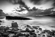 Sunset over the sea at Elgol on the Isle of Skye, Scotland.