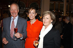 Left to right, CHARLES PALMER-TOMKINSON, TARA PALMER-TOMKINSON and PATTI PALMER-TOMKINSON at a party to celebrate the publication of 'Last Voyage of The Valentina' by Santa Montefiore at Asprey, 169 New Bond Street, London W1 on 12th April 2005.<br />