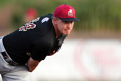 11 August 2012:  Pitcher Liam Ohlmann during a Frontier League Baseball game between the River City Rascals and the Normal CornBelters at Corn Crib Stadium on the campus of Heartland Community College in Normal Illinois.  The CornBelters take this game in 9 innings 7 - 2 with a 5 run 2nd inning.