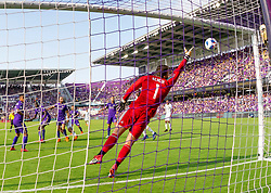 April 8, 2018 - Orlando, FL, U.S. - ORLANDO, FL - APRIL 08: Portland Timbers nearly score a goal as Orlando City goalkeeper Joseph Bendik (1) tips the ball wide during the MLS soccer match between the Orlando City FC and the Portland Timbers at Orlando City SC on April 8, 2018 at Orlando City Stadium in Orlando, FL. (Photo by Andrew Bershaw/Icon Sportswire) (Credit Image: © Andrew Bershaw/Icon SMI via ZUMA Press)