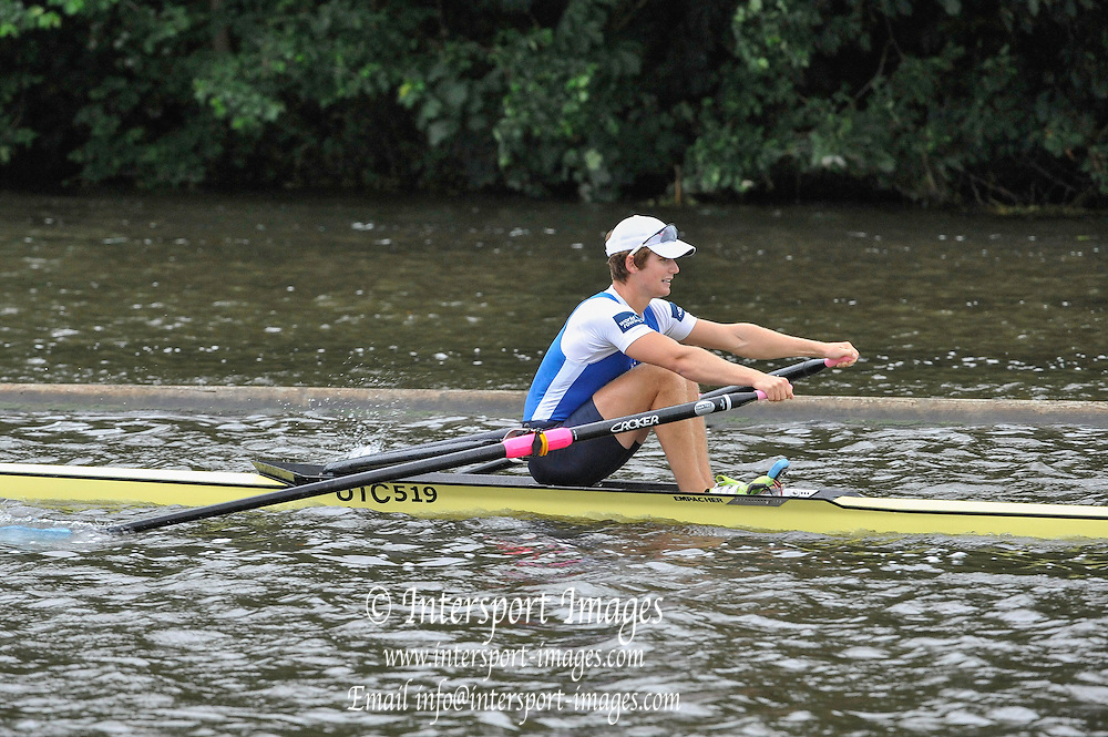 Henley, GREAT BRITAIN, 2012  Diamond Challenge Sculls, M1X, A.J. CAMPBELL, USA, races past the Island.  Friday   09:24:59   29/06/2012  [Mandatory Credit, Intersport Images]. ...Rowing Courses, Henley Reach, Henley, ENGLAND . HRR