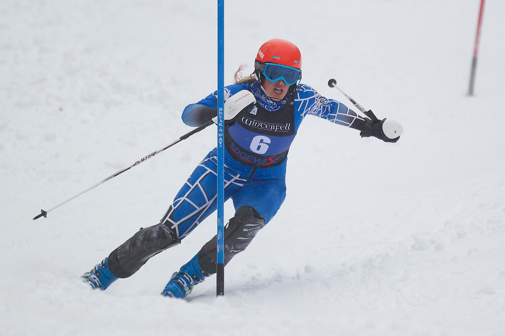 Mardene Haskell of Colby College, skis during the second run of the women's slalom at Jiminy Peak on February 14, 2014 in Hancock, MA. (Dustin Satloff/EISA)
