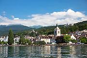 The town and church of Evian-les-Bains by Lake Geneva, Lac Leman, France