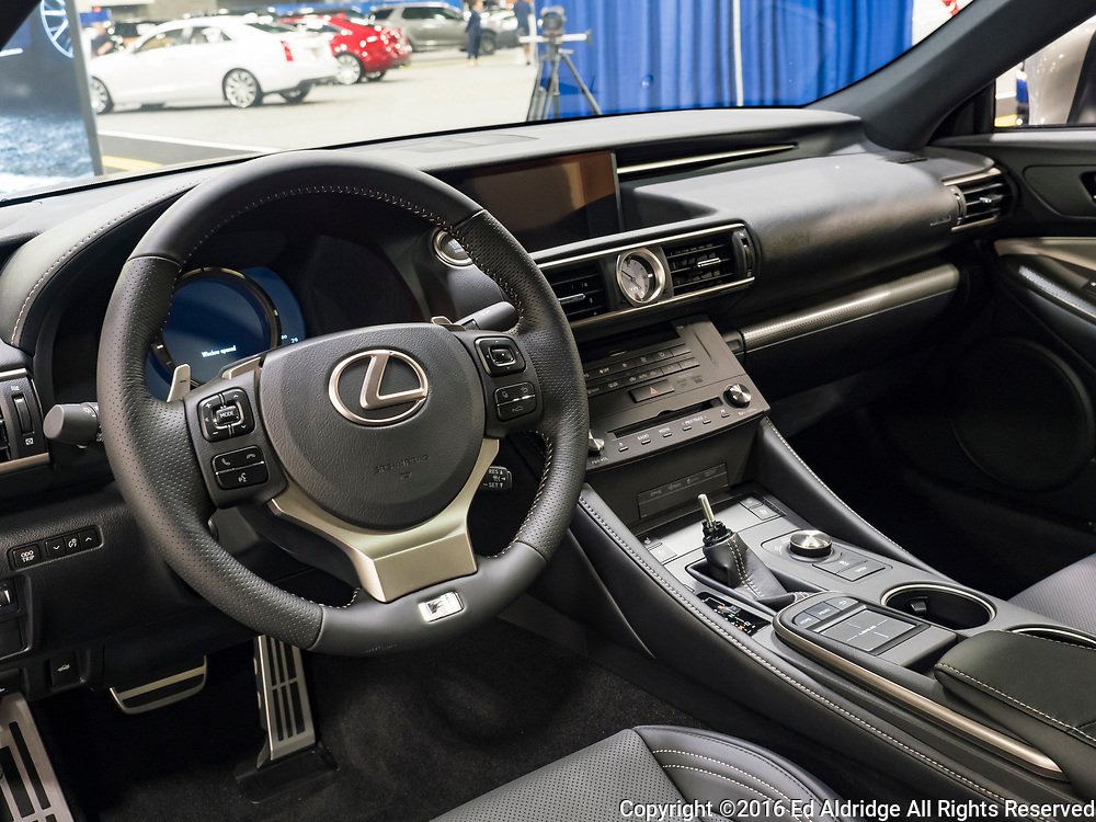 CHARLOTTE, NC, USA - NOVEMBER 17, 2016: Lexus RC 350 F Sport on display during the 2016 Charlotte International Auto Show at the Charlotte Convention Center in downtown Charlotte.