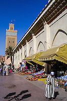 Morocco. The Kasbah Mosque is located in the southern part of Marrakech medina in the area known as Kasbah. Place Yazid.