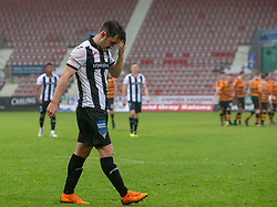 Dunfermline's Aidan Connolly misses their penalty and Alloa win. Dunfermline 2 v 2 Alloa Athletic. Alloa win on penalties. Irn Bru cup game played 13/10/2018 at Dunfermline's home ground, East End Park.