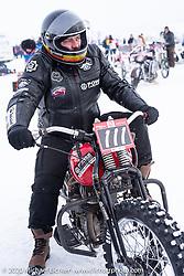 "Victor Dokuchaev on his 1942 WR 45"" Harley-Davidson Flathead racer at the Baikal Mile Ice Speed Festival. Maksimiha, Siberia, Russia. Thursday, February 27, 2020. Photography ©2020 Michael Lichter."