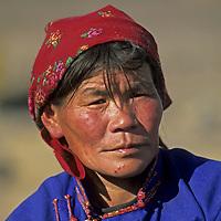 MONGOLIA, Wife of Umgan, a shaman near Tsagan Nuur, in the Darhad Valley.