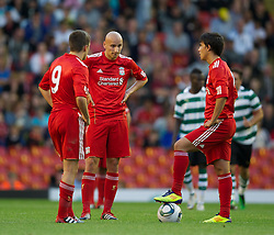LIVERPOOL, ENGLAND - Wednesday, August 17, 2011: Liverpool's Jonjo Shelvey looks dejected as Sporting Clube de Portugal score the second goal during the first NextGen Series Group 2 match at Anfield. (Pic by David Rawcliffe/Propaganda)