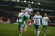 Craig Cathcart of Northern Ireland © celebrates after he scores his teams 1st goal. . Wales v Northern Ireland, International football friendly match at the Cardiff City Stadium in Cardiff, South Wales on Thursday 24th March 2016. The teams are preparing for this summer's Euro 2016 tournament.     pic by  Andrew Orchard, Andrew Orchard sports photography.