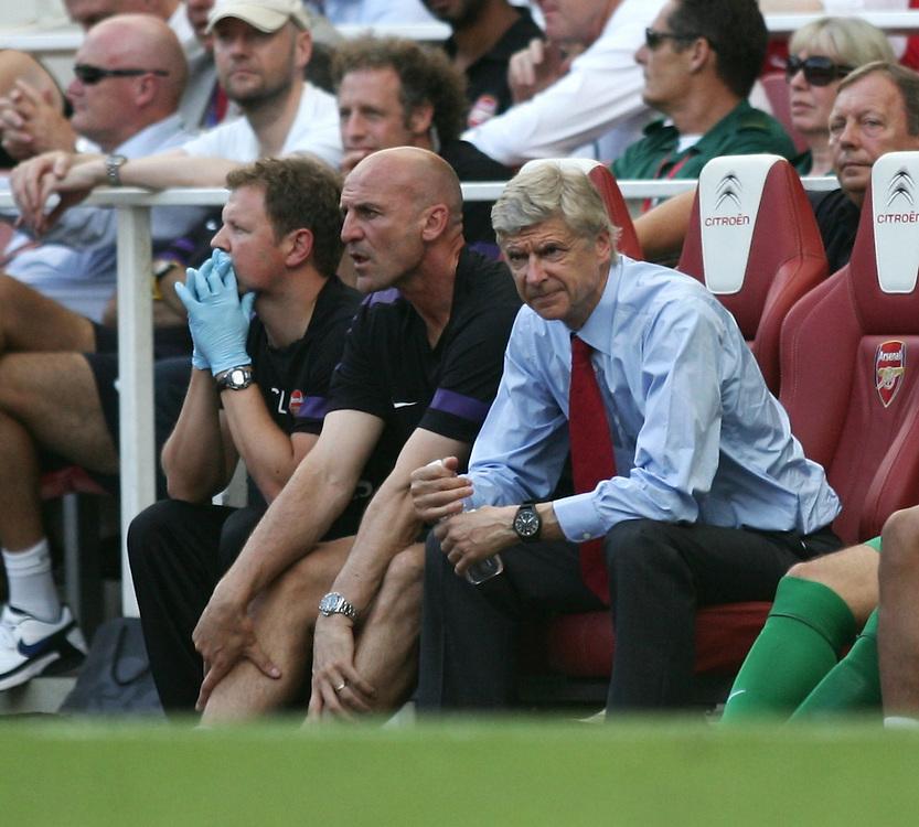 Arsenal's Manager Arsene Wenger looks dejected..Football - Barclays Premiership - Arsenal v Sunderland - Saturday 18th August 2012 - The Emirates Stadium - London..