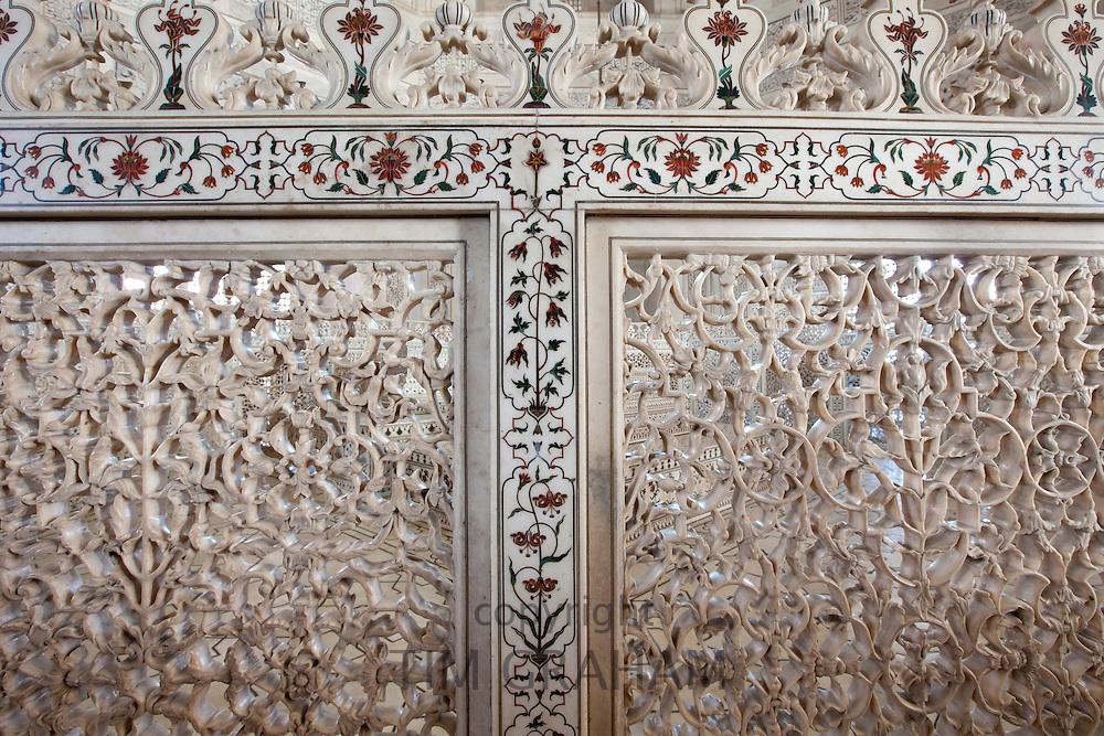 The Taj Mahal mausoleum detail of Pietra Dura jewels inlaid in marble and latticed screens, Uttar Pradesh, India