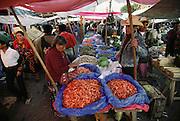 Shrimp vendor on market day in Solola, Guatemala.